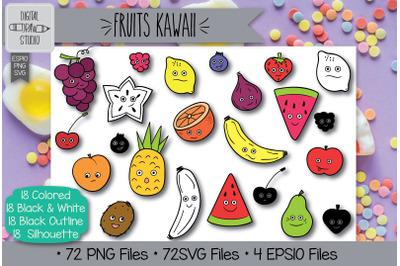 72 Fruits Kawaii Doodles Hand Drawn Illustrations Bundle
