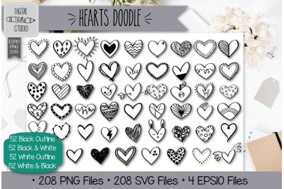 208 Hearts Doodle Hand Drawn Illustrations Bundle