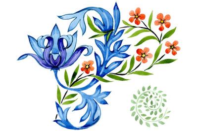 Ukrainian floral ornament, national watercolor png