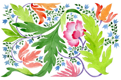 Ornament of wildflowers watercolor png