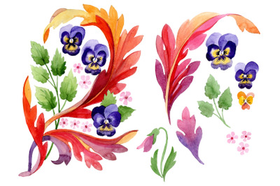 Ornament with pansies Watercolor png