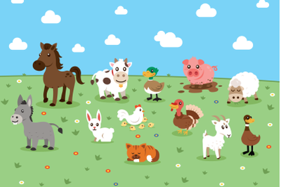 Farm Lovely Animals Clipart
