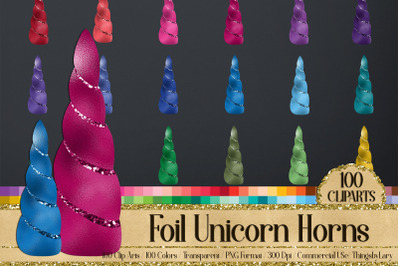 100 Foil Glitter Fantasy Magical Unicorn Horn Clip Arts PNG