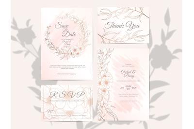 Wedding Invitation Set Elegant Outlined Floral Watercolor Background