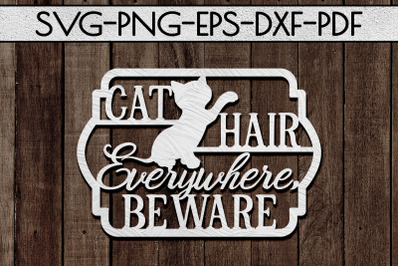 Cat Lover Papercut Template, Cat House Decor, SVG, DXF