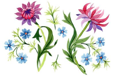 Floral classic watercolor ornament png