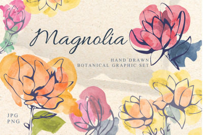 Magnolia.Flowers elements set, posters, patterns. Floral graphic
