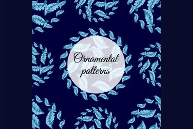 Ornament seamless patterns.Flowers. Abstract flourish mandala.