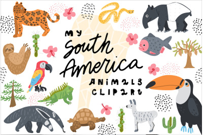 My South America Animals Clipart