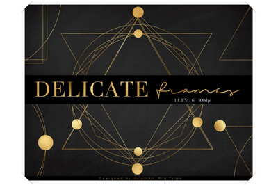 Gold Geometric Frames Clipart