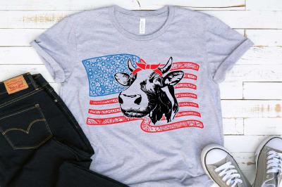 Heifer Zentangle american flag SVG USA Fourth of July Bandana Cow 1456