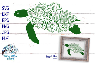 Floral Turtle SVG Cut File