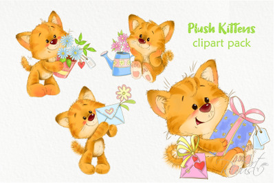 Red kittens with flowers and gifts