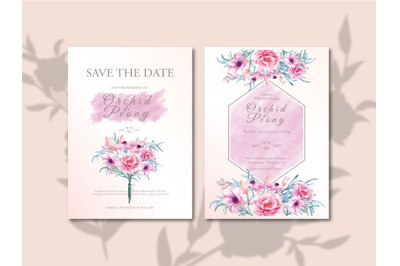 Flower Bouquet Wedding Invitation Set with Watercolor Background