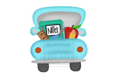 Back To School Truck Blue PNG, Sublimation design, digital download, b