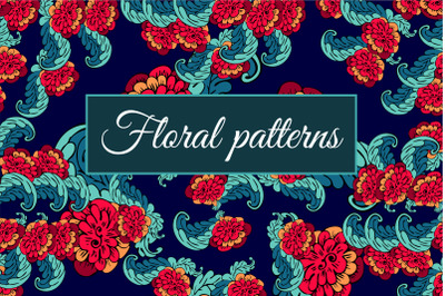 Floral seamless patterns.