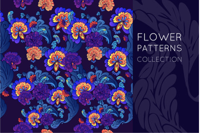 Flower set. Patterns and elements.