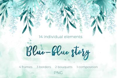 Blue-blue story clipart_SALE 50% OFF