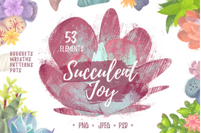 Succulent Joy cliipart_SALE 50% OFF