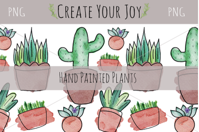 Watercolor Plants | PNG with Printable Designs Included