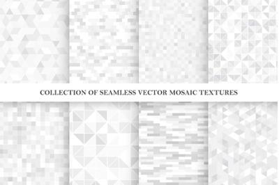 Vector gray seamless mosaic patterns
