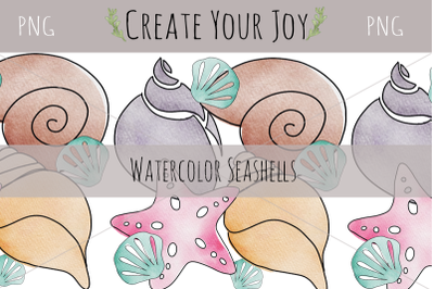 Watercolor Seashells | PNG with Printable Designs Included