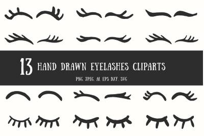 10+ Handdrawn Eyelashes Cliparts