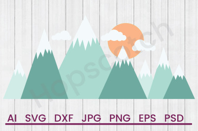 Snowy Mountains - SVG File, DXF File