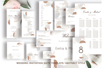 Wedding Template Suite, An Invitation Pack Abstract Modern