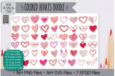 364 Colored Hearts Doodle Hand Drawn Illustrations Bundle