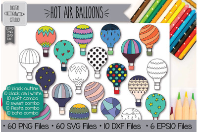 60 Hot Air Balloons Doodle Hand Drawn Illustrations Bundle