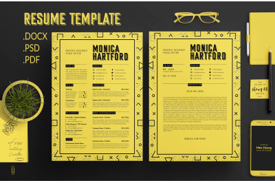 Retro Resume Template / CV template / Coverletter M