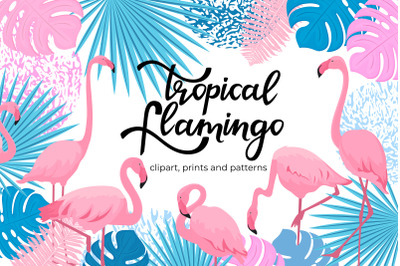 Tropical pink flamingo.