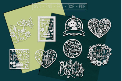 Happy Birthday Papercut Templates Bundle, Laser Vector SVG, PDF, DXF
