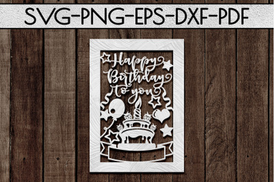 Customizable Happy Birthday Papercut Template, Card SVG, PDF