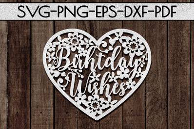 Birthday Wishes Papercut Template, Birthday Decor SVG, PDF