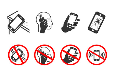 Mobile phone icons. Broken screen, falling phone, wi-fi waves, phone i