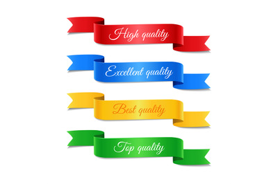 Decorative arrow ribbons with text set