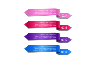Set of colored ribbons with text