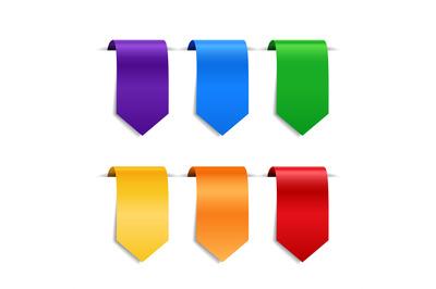 Decorative ribbons, labels or bookmarks set
