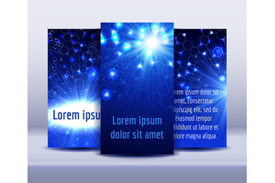 Flyers with molecule structure glowing background