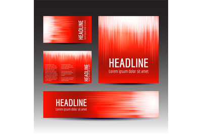 Set of red gradient background templates