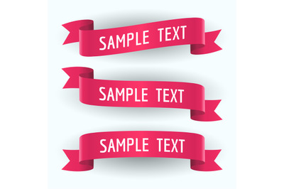 Set of red ribbons and text