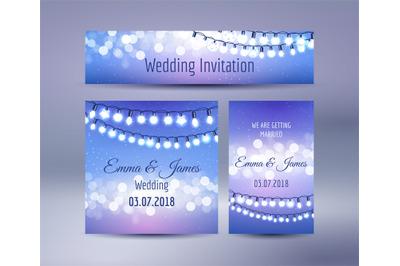 Lights bokeh and garlands wedding cards