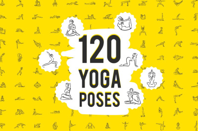 Set of 120 yoga poses icons.