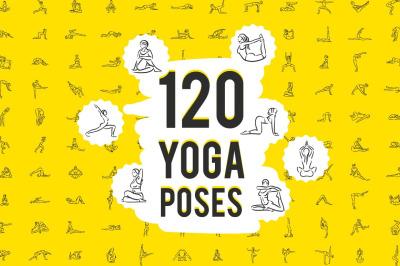 Set of 120 yoga poses icons.