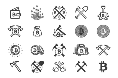 Set of 20 bitcoin mining icons.