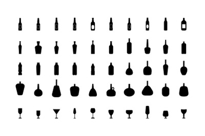 50 Bottles and glasses icons on white background