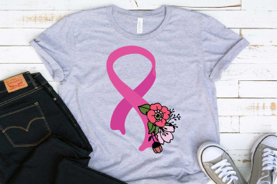 Flower Ribbon Breast Cancer SVG Fight for a cure Be Strong 1464S
