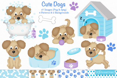 Dog clipart, Dog graphics and illustrations -C35